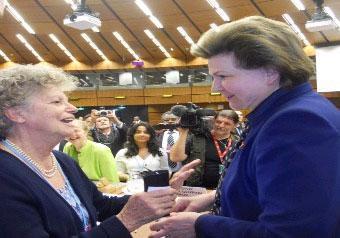 Pochi giorni fa a Vienna con Amalia Finzi (a sinistra), pioniera italiana degli studi spaziali