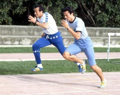 In allenamento con Pierfrancesco Pavoni (Olycom)