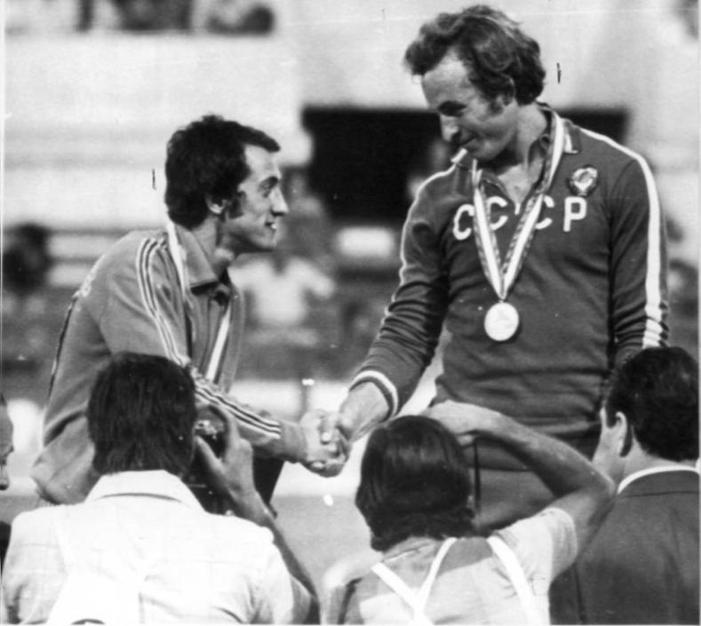 Mennea vantava gi� un'altra medaglia olimpica, il bronzo conquistato nel 1972 a Monaco di Baviera. Vinse il sovietico Valerij Borzov, nella foto. Argento all'americano Larry Black (Ap)