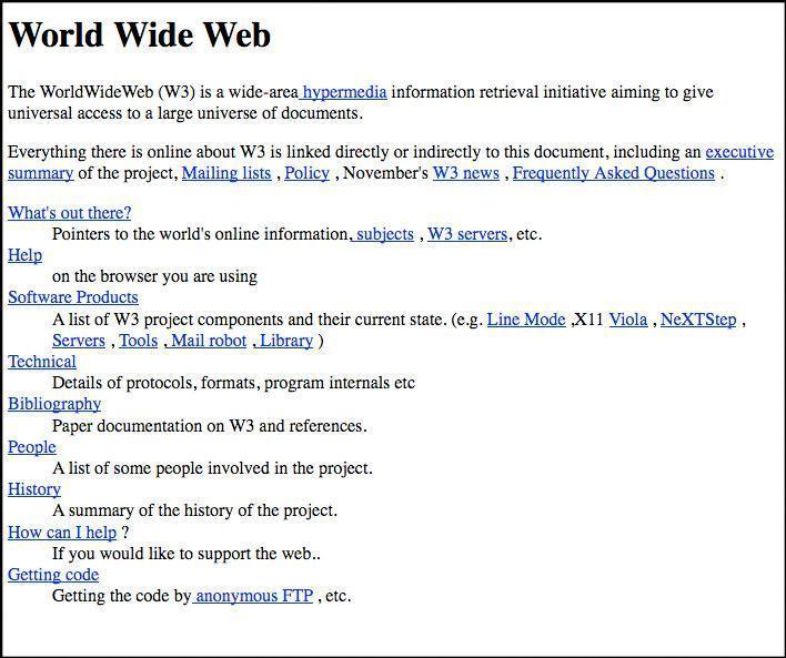 La prima pagina web, che oggi non � pi� ospitata nell'indirizzo originario