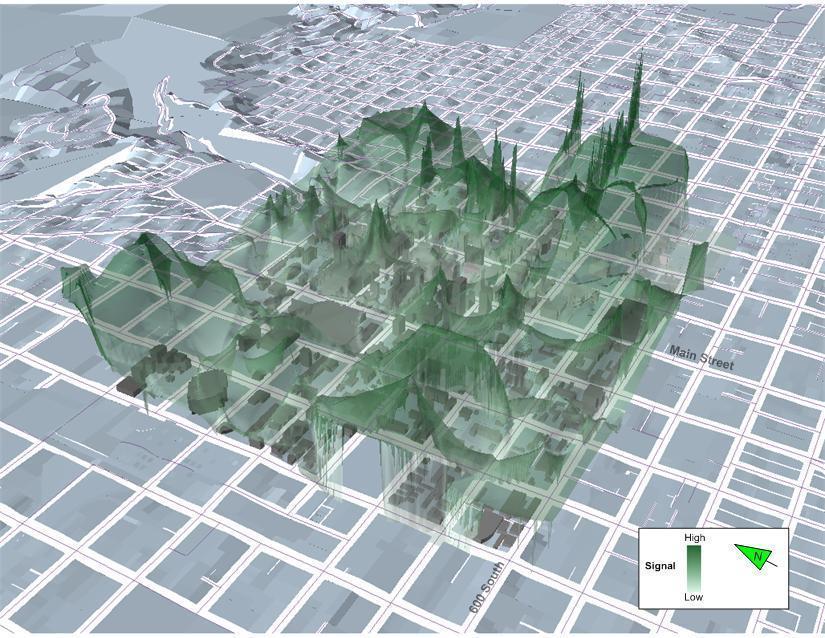 Ecco come si presentava la città statunitense di Salt Lake City nel 2008: il lavoro di ?geografia del WiFi? è di Paul Torrens,che ha evidenziato picchi di connessione a ree coperte inventando appunto una nuova conformazione geografica urbana.