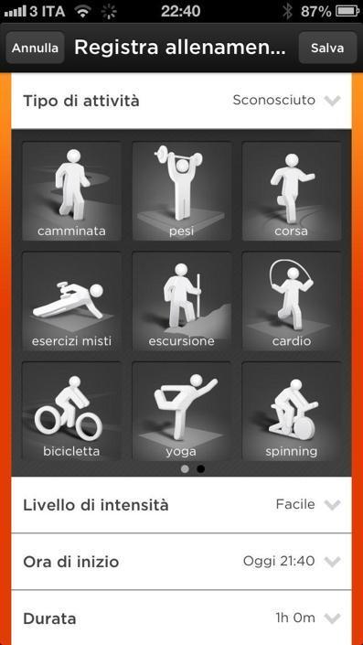 Le attività sportive vanno inserite a mano, ce ne sono di vari tipi. Anche le calorie dei cibi mangiati vanno inserite manualmente