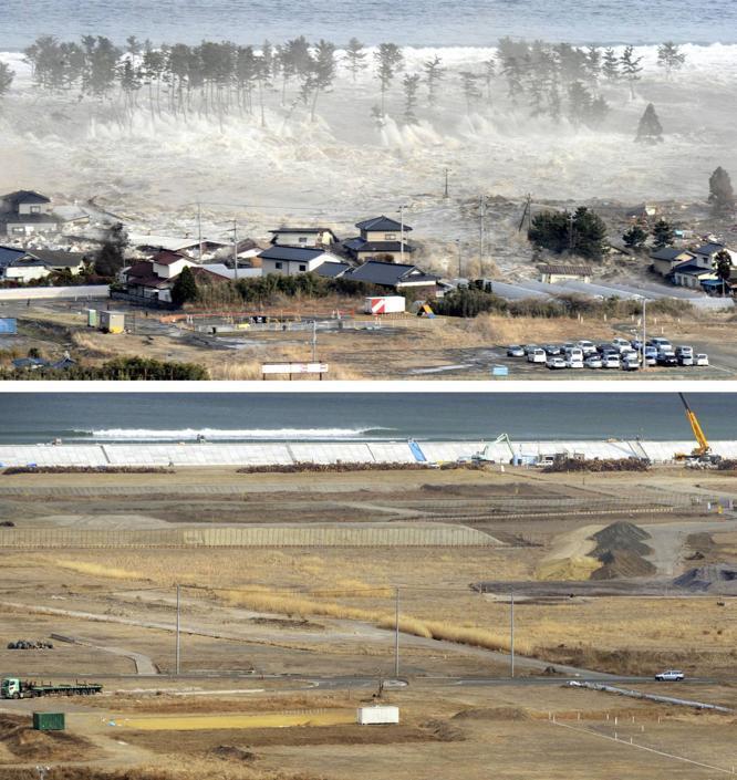 Sono passati due anni dall'11 marzo 2011, quando un terremoto di 9 gradi Richter nell'oceano Pacifico a 30 km di profondità scatenò uno tsunami sulle coste giapponesi (Ap/Kyodo)