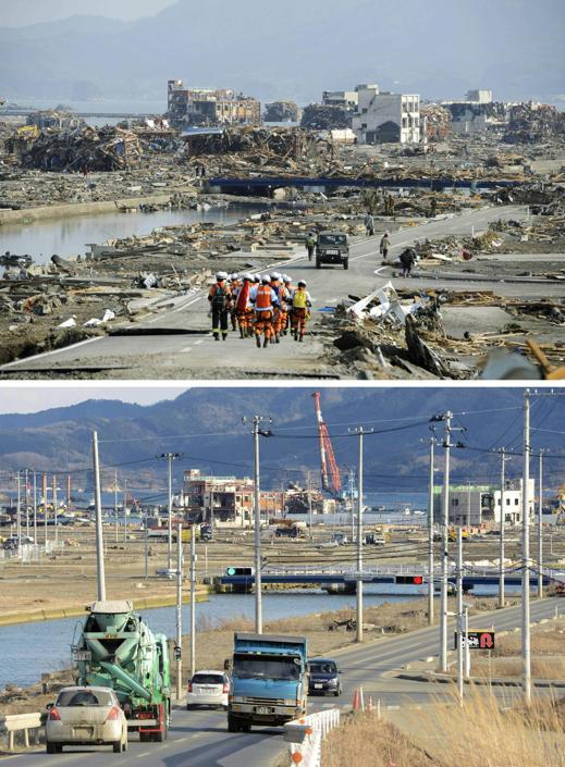 Le zone colpite sono state sgomberate dai detriti, ma nelle aree circostanti ci sono montagne di  macerie. Nella foto la città di Minamisanriku (Ap/Kyodo)