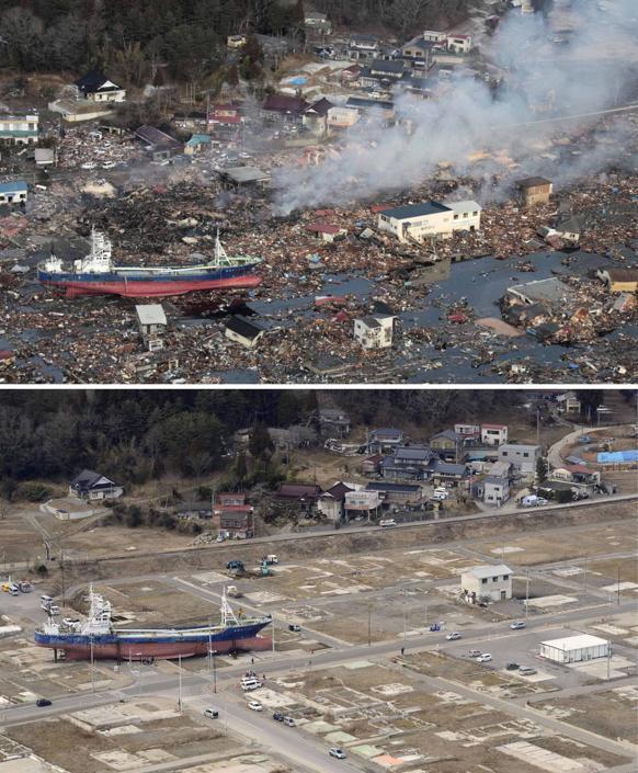 Un'immagine simbolo dello tsunami è la nave portata sulla terraferma a Kesennuma (Ap/Kyodo)