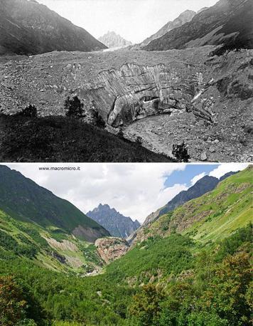 Ghiacciaio Tviberi: in alto  1884 Mor von Dechy, Royal Geographical Society. Sotto: 2011 Fabiano Ventura. La fronte si è ritirata di oltre 4 km e al suo posto c'è una foresta