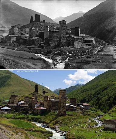 Il paese di Ushguli in Georgia, fra i patrimoni dell?Unesco, fotografato da Vittorio Sella nel 1890 e da Fabiano Ventura nel 2011