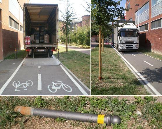 Bologna, carico e scarico sulla corsia riservata ai ciclisti (bicisnob.wordpress.com)