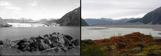 Il ghiacciaio McCarthy in Alaska nel 1909 (Ulysses S. Grant) e nel 2004 (Bruce F. Molnia, Glacier Photograph Collection, National Snow and Ice Data Center/World Data Center for  Glaciology)