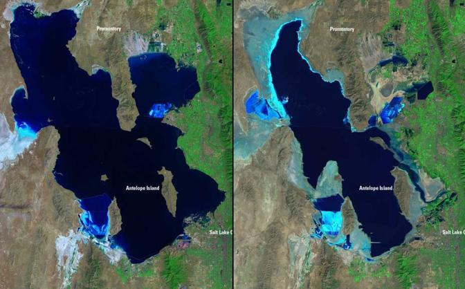 Si riduce il Grande lago salato nello Utah. A sinistra nell&#39;agosto 1985, a destra nel settembre 2010 (Usgs Landsat Missions Gallery)