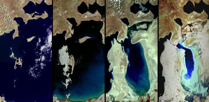 La riduzione del lago Aral, tra Kakazisktan e Uzbekistan. Da sinistra: 4 giugno 1977; 17 settembre 1989; 27 maggio 2006; 3 giugno 2009 (Usgs)