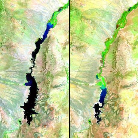 La siccit ha fatto calare il livello del bacino Elephant Butte, in New Mexico. A sinistra 20 agosto 1991, a destra 27 agosto 2011 (Usgs Landsat Missions Gallery)