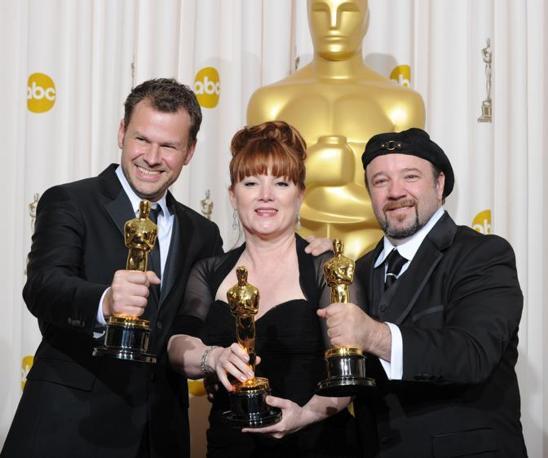Barney Burman, Mindy Hall e Joel Harlow, premiati per il makeup per «Star Trek» (Afp)