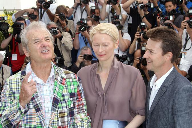 Bill Murray, Tilda Swinton e Edward Norton (Afp)