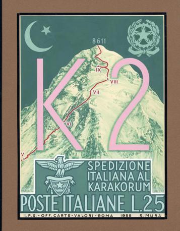 Il bozzetto del francobollo della conquista italiana della vetta del K2 che le poste italiane avevano preparato per onorare l impresa alpinistica guidata da Ardito Desio ma che non vide mai la luce (Ansa)