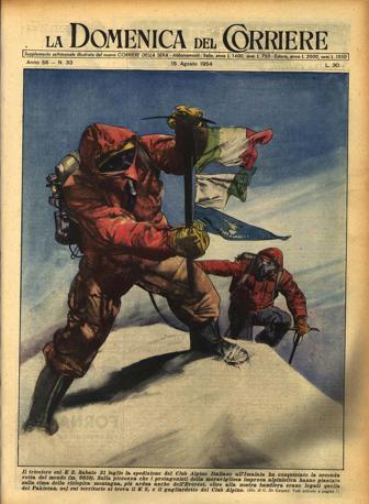 La copertina della Domenica del Corriere dopo la conquista del K2