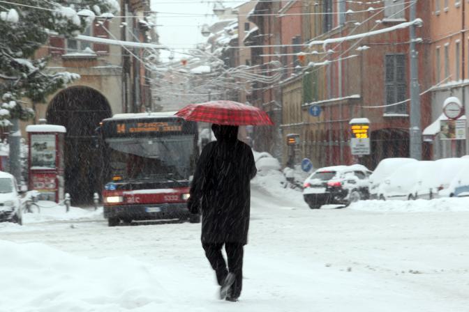 Nevicata record a Bologna, 30 cm in città (Ansa)