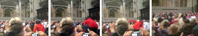 Tensione all'inizio della messa di Natale nella Basilica di San Pietro. Durante la processione che apre la cerimonia, una donna ha scavalcato le transenne strattonando il Pontefice. Benedetto XVI è caduto a terra ma si è prontamente rialzato raggiungendo l'altare principale della Basilica. La donna è stata fermata (Ap)