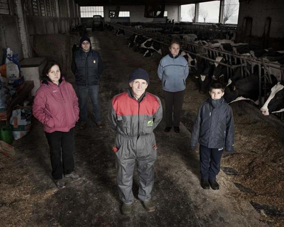 Cercenasco (Torino), ore 14.26 - Nonno, figlio, moglie e nipote, tre generazioni della stessa Famiglia lavorano insieme in stalla - Foto di Alessandro Albert