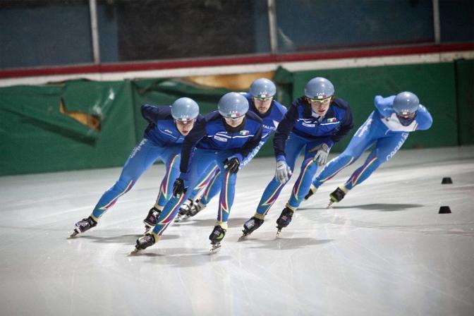 Bormio (Sondrio), ore 17 - La nazionale italia di short track si allena in preparazione dei XXI  giochi olimpici invernali di Vancouver - Foto di Stefano dal Pozzolo