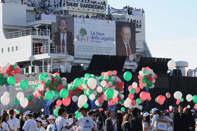 """La """"nave della legalità"""" ha portato a Palermo 2.500 studenti di tutta Italia (Ansa)"""