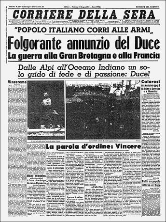 """La prima pagina del """"Corriere della Sera"""""""