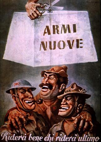 Manifesto di propaganda: gli Alleati schiacciati dalle armi segrete naziste