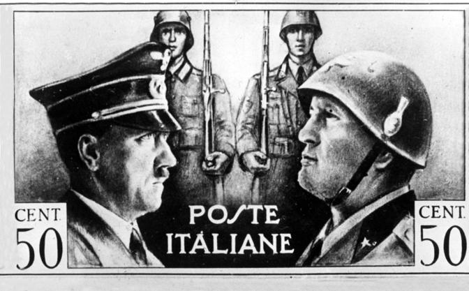 1941, francobollo delle Poste italiane con i ritratti di Hitler e Mussolini