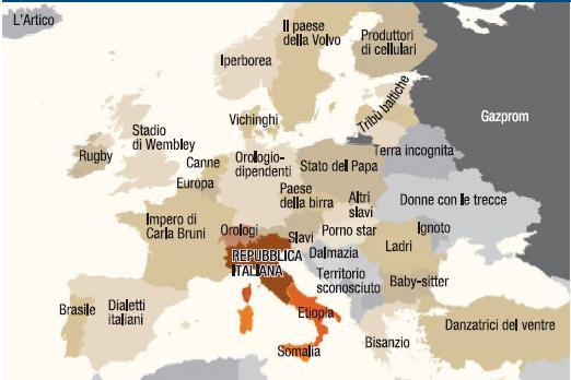 L'Europa per gli italiani. A est di Trieste una combinazione di pornostar e baby-sitter, ladri e bizantini, bevitori di birra e danzatrici del ventre. A nord prevale lo sport (rugby in Irlanda e Wembley in Gran Bretagna), a ovest la visione italocentrica (Carla Bruni in Francia, dialetti italiani in Spagna). E il nostro Paese è diviso a metà: il sud è Africa