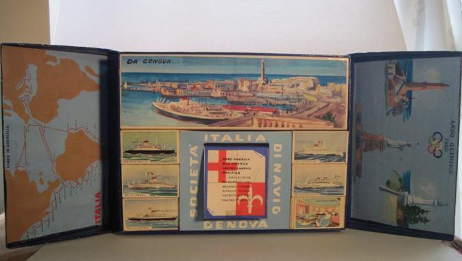 Il bozzetto dipinto a mano di una grande confezione di fiammiferi realizzata in edizione limitata per le Olimpiadi del 1960 (Foto: Fagnani. Archivio Tunesi)