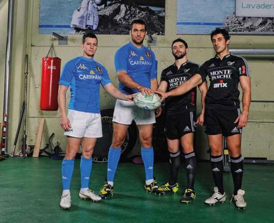 Kaine Robertson, Quintin Geldenhuys, Tito Tebaldi e Paolo Buso (da sinistra a destra): giocatori della nazionale italiana di rugby e degli Aironi - Foto di Claudio Villa