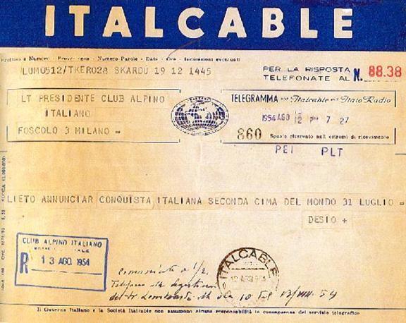Il telegramma del capo spedizione Desio che annuncia la conquista del K2