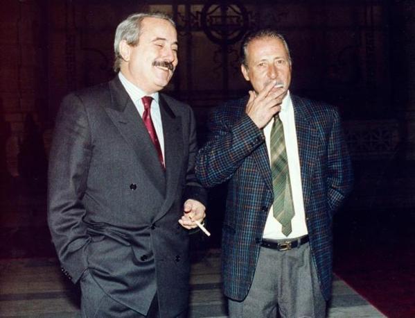 Una storica immagine assieme a Paolo Borsellino (Foto Ansa)