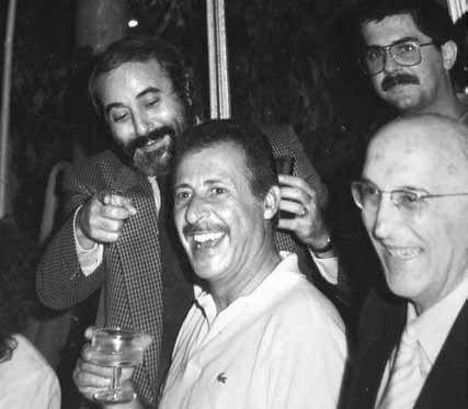 Falcone con Paolo Borsellino e il capo del pool antimafia Antonino Caponnetto(Lannino/ Giacominofoto)