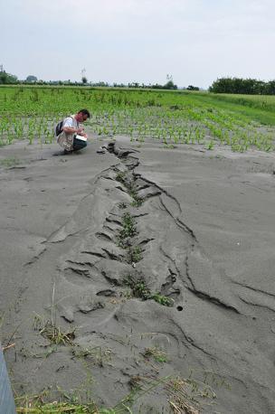 Nell'Emilia colpita dal sisma proseguono i sopralluoghi dei geologi dell'Ingv del team Emergeo che si sono concentrati sul fenomeno della liquefazione delle sabbie (Pucci)