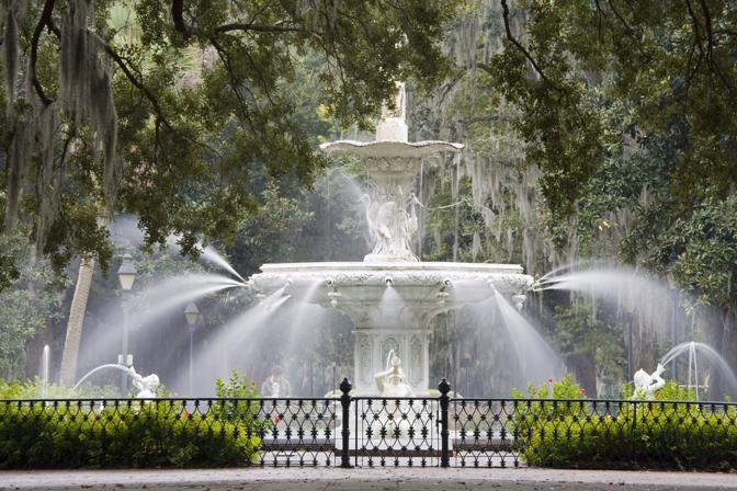 Savannah. La fontana nel parco Forsyth (Olycom)
