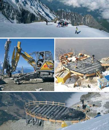 Le fasi della costruzione del rifugio sul Monte Bianco