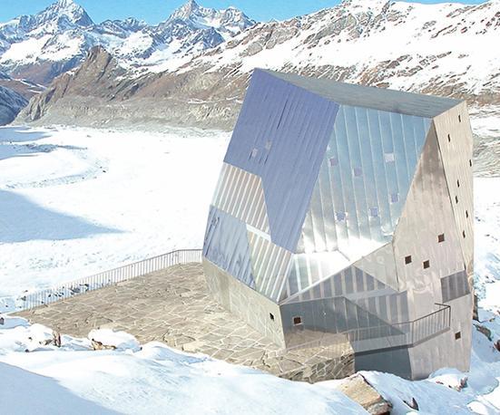 Il Neue Monte Rosa Hutte è simile a schegge di cristallo conficcate nella neve.