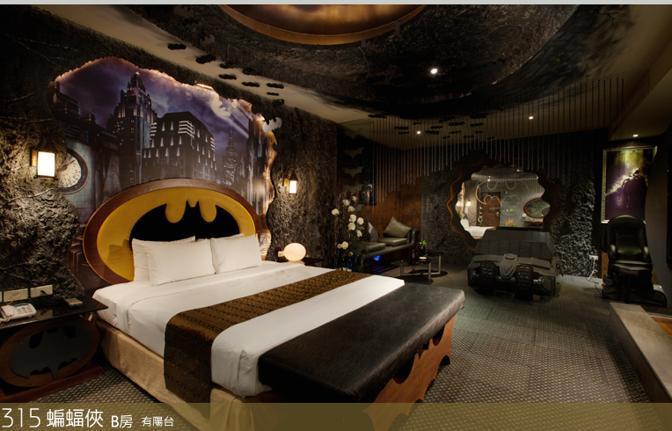 Un motel di Kaonhsiung City Taiwan, The Eden, ha allestito una suite di 46 metri quadri tutta dedicata a Batman (www.eden-motel.com.tw)