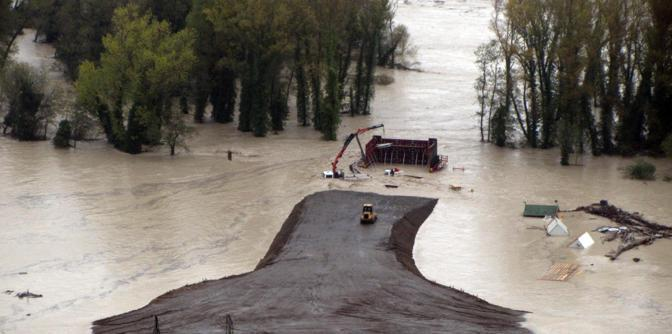 Cantiere sommerso dall'acqua ad Orvieto (Ansa/Ufficio stampa Comune Orvieto)