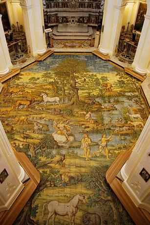 Anacapri, chiesa di San Michele, dettaglio del pavimento in maioliche