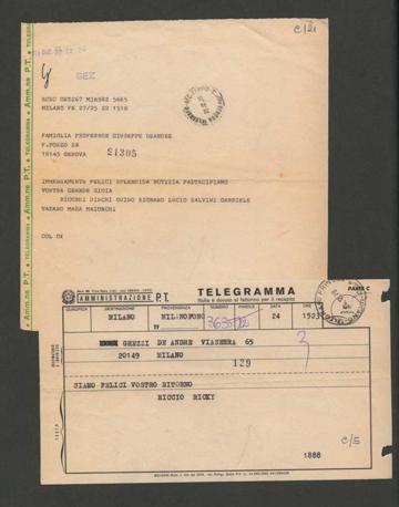 1979 Telegrammi per la liberazione dopo il sequestro