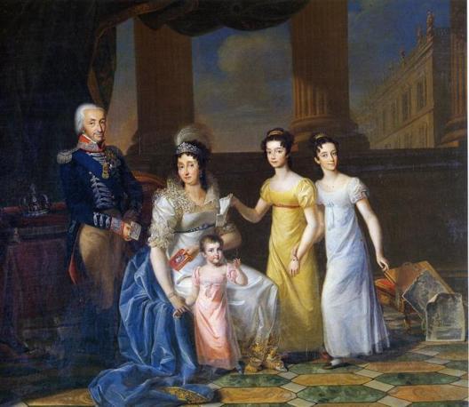 Mostra su «Vittorio Emanuele II, Il Re Galantuomo»:  Luigi Berbero, Re Vittorio Emanuele I, la regina Maria Teresa e le loro tre figlie più giovani