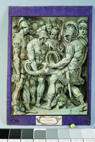 , da Perino del Vaga, Alessandro Magno recide il nodo di Gordio, 1600 ca