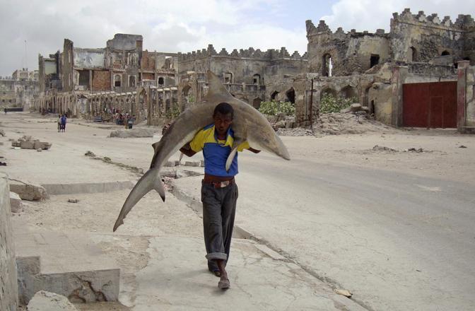 Un uomo trasporta in spalla uno squalo nelle strade di Mogadiscio - Foto di Omar Feisal (Somalia), vincitore nella categoria «Singles Daily Life»