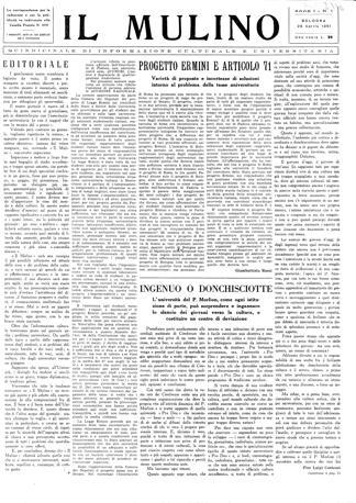Il primo numero de «Il Mulino», quindicinale di informazione culturale e universitaria, datato 25 aprile 1951