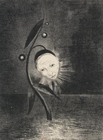 «Hommage à Goya / planche II. La fleur du marécage, une tête humaine et triste» - Odilon Redon  -Paris, Bibliothèque nationale de France © Bnf Album de six planches, Litografia. 1885
