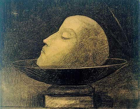 «Martyr ou Tête de martyr sur une coupe ou Saint Jean» - Odilon Redon - Otterlo, Kröller-Müller Museum © coll. Kröller-Müller Museum, Otterlo. Carboncino. 1877
