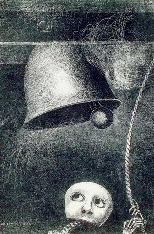 A Edgar Poe / planche III : Un masque sonne le glas funèbre» - Odilon Redon - Paris, Bibliothèque nationale de France © Bnf Album di sei tavole e un frontespizio. Litografie. 1882
