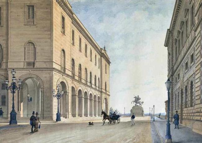 Flaminio Rotondi, veduta del monumento equestre al re Vittorio Emanuele da collocarsi in fondo al prolungamento della via del Corso a Perugia e sulla sinistra il Palazzo del Governo, 1878